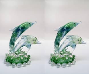 Glass Street Dolphin mix color Decorative Showpiece  -  7 cm