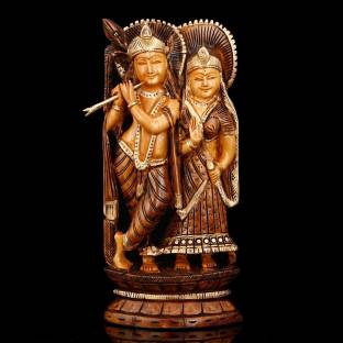 f76b51238e1f Collectible India Wooden Radha Krishna Couple - Intricately Handcarved    Painted - Wedding Anniversary Engagement Gift