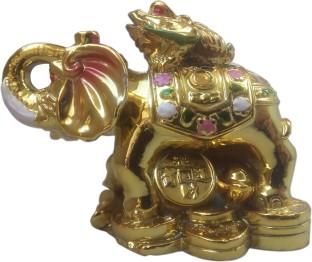 Brass Feng Shui Frog on Elephant Showpiece