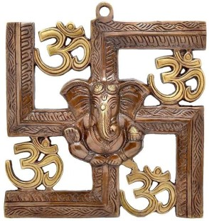 JaipurCrafts Wall Hanging Of Lord Ganesha On Swastik With Om Showpiece    22.86 Cm Part 65