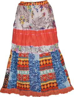 Indiatrendzs Printed Women's Regular Multicolor Skirt