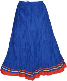 Indiatrendzs Solid Women's A-line Blue Skirt