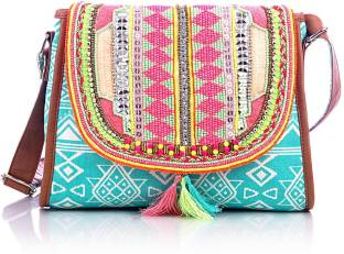 Carry on Bags Girls Casual Multicolor Cotton Sling Bag Multicolour ...