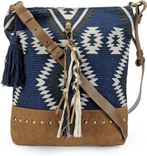The House of Tara Women Blue Cotton Sling Bag