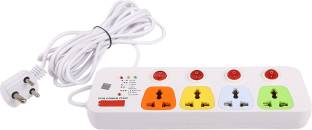 CONA Smyle VIVA 4+4 Power Strip / Spike Guard 4 Sockets + 4 Individual Switches 5 Mtrs 4  Socket Extension Boards