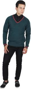Kotty Solid V-neck Casual Men Green Sweater
