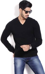 United Colors of Benetton Solid V-neck Casual Men's Black Sweater