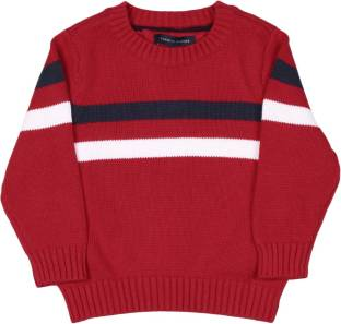 Tommy Hilfiger Striped Round Neck Casual Baby Boys Red Sweater