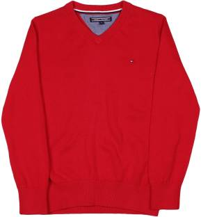 Tommy Hilfiger Solid V-neck Casual Boys Red Sweater