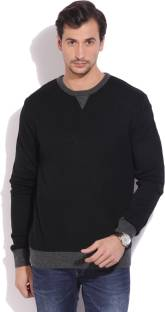 John Miller Self Design Crew Neck Casual Men's Black Sweater