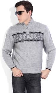 John Players Self Design Turtle Neck Casual Men's Grey Sweater