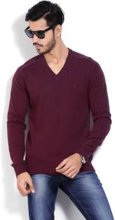 United Colors of Benetton Solid V-neck Casual Men's Maroon Sweater