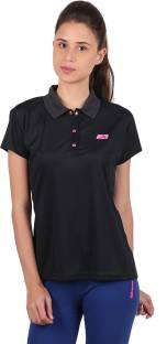 044684112b1ce5 Vector X Solid Women s Polo Neck Purple T-Shirt - Buy Purple Vector ...