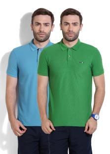 Newport Solid Men's Polo Neck Blue, Green T Shirts