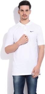 Nike Solid Men's Polo Neck White, Blue T Shirt