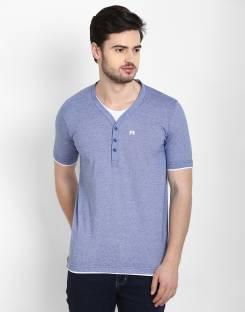 Cotton County Premium Solid Men's Henley Purple T-Shirt