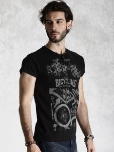 Roadster Printed Men's Henley Black T-Shirt
