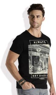 Roadster Printed Men's Round Neck Black T-Shirt