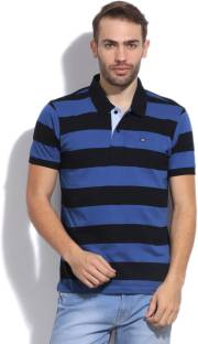 Arrow Sports Striped Men's Polo Neck Blue T-Shirt