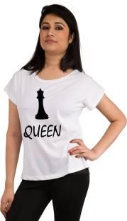 Snoby Printed Women's Round Neck White T-Shirt