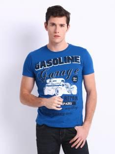 Roadster Printed Men's Round Neck Blue T-Shirt
