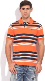 Wrangler Striped Men's Polo Neck Blue, Orange T-Shirt