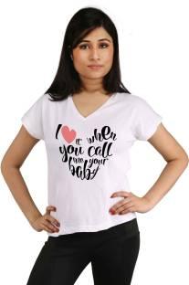 Snoby Printed Women's V-neck White T-Shirt
