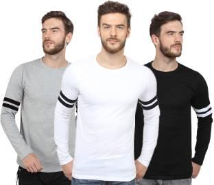 SayItLoud Solid Men's Round Neck Grey, Black, White T-Shirt