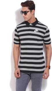 Nike Striped Men's Polo Neck Black T Shirt