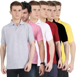 Club Fox Solid Men's Polo Neck Blue, Pink T-Shirt - Buy Navy Club