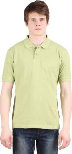 17be8b049d9 Moonwalker Solid Men s Polo Neck Green T-Shirt - Buy Parrot Green ...