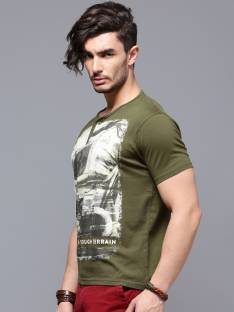 Roadster Printed Men's Henley Dark Green T-Shirt