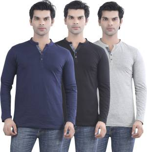 Maniac Solid Men's Henley Dark Blue, Black, Grey T-Shirt