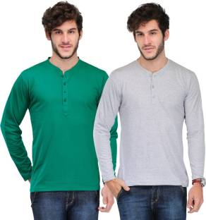 f00fb8a4 Freecultr Solid Men's Henley Green T-Shirt - Buy Light Sea Green ...