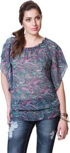 People Casual Short Sleeve Printed Women's Multicolor Top
