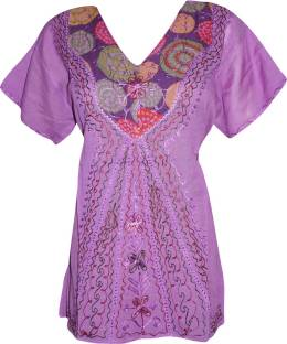 Indiatrendzs Casual Cap Sleeve Embroidered Women's Purple Top