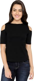 Chimpaaanzee Party Short Sleeve Solid Women Black Top