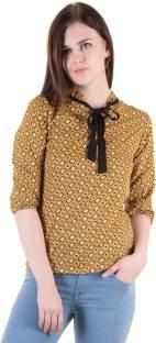 Vvoguish Casual 3/4 Sleeve Printed Women Yellow Top