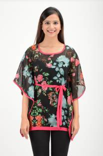 Timbre Party Butterfly Sleeve Floral Print Women Black Top