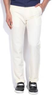 15d5bde030a Celio Slim Fit Men s Linen White Trousers - Buy NATURAL Celio Slim ...