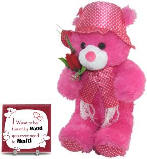 Tiedribbons TIED RIBBONS huggable soft teddy bear pink with message tile for wife,girl friend,fiancee,boy friend,hubby on valentine,birthday,anniversary Soft Toy Gift Set