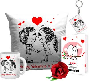 Tiedribbons TIED RIBBONS Can't Help Falling in Love cushion mug and key ring Best Gift for Valentine's Day, Her, Girlfriend,boy friend,husband, Wife,Birthday, Anniversary,Christmas or Any Holidays Cushion Gift Set
