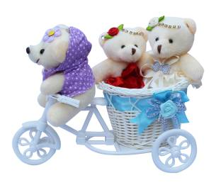 CTW 3 Small Teddybear With Beautiful Cycle Showpiece Gift Set