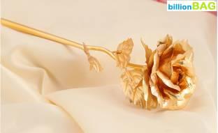 BillionBAG 15cm. Golden 24 k Rose Artificial Flower Gift Set