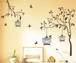 happy walls tree branch with birds bird house tv decor - Wall Decoration