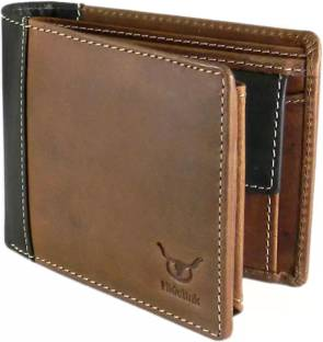 Hidelink Men Formal Brown Genuine Leather Wallet