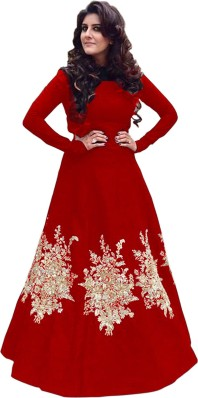 Red Gown with Sleeves