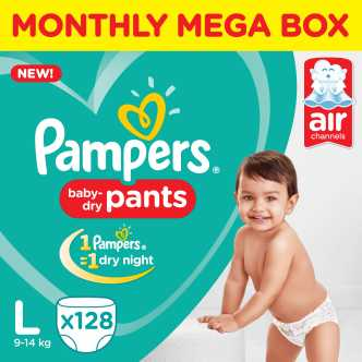 Pampers Pants Diapers Monthly Box Pack New - L