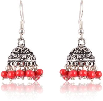 Subharpit Black and Silver Oxidized Traditional Indian Jhumka Jhumki Earrings for Women and Girls