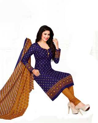 D Cotton Blend Printed Salwar Suit Material